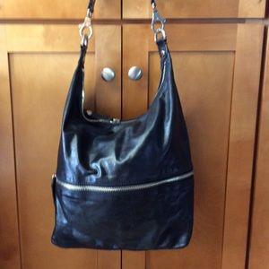 Hobo International Black Leather Zipper Hobo Bag